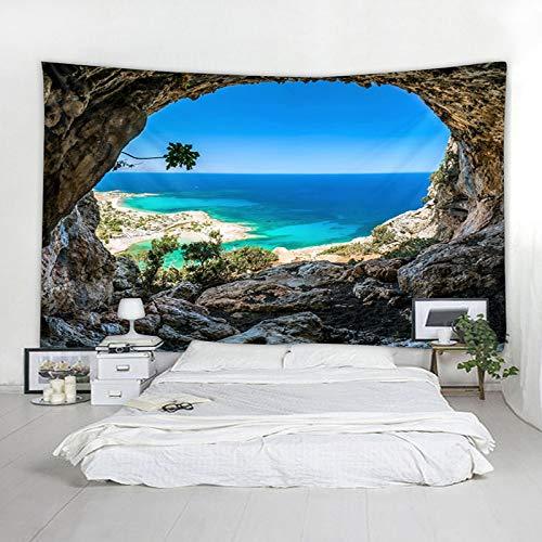ZSYNB Wandtapijt, mandala-tapijt, groot, blauw, zeeblik, muurbehang, Boheemse strandhanddoek, polyester, dunne deken, yoga-sjaal, mat plafond No frame 150 x 130 cm.