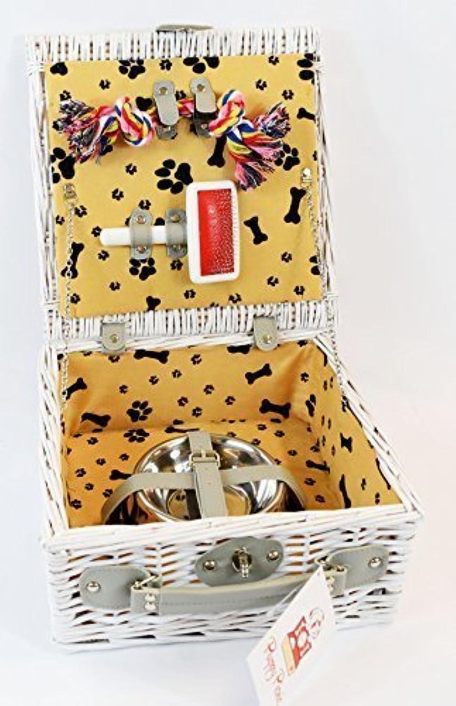 Dog Gift Basket with Dog Bowls, Dog Toy, Dog Brush  Puppy Picnic White Wicker Basket