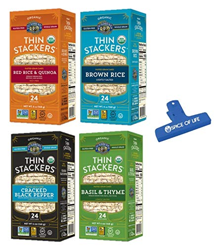 Lundberg Organic Gluten-Free Thin Stacker Rice Cakes, 4 Flavor Variety Bundle, (1) Each: Red Rice & Quinoa, Brown Rice, Cracked Black Pepper, and Basil & Thyme with Spice of Life Bag Clip