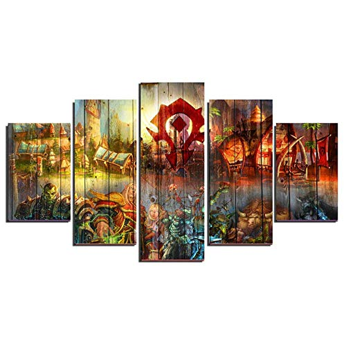 X&MM 5 Panel-Wand-Kunst, World of Warcraft Moderne Haus-Dekoration Leinwand Gemälde High Definition Printing Spiel Bild Für Haus-Dekoration,B,S