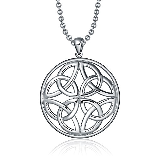 TIGRADE Silver Circle Round Celtic Triquetra Trinity Knot Stainless Steel Pendant Necklace