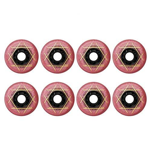 MY1MEY Ruedas de patín en línea 8 Piezas 72Mm 76Mm 80Mm Ruedas Ruedas de Repuesto PU Ruedas de Repuesto, Ruedas de Repuesto(red76mm)