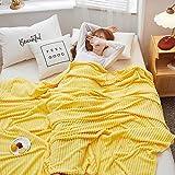 HETOOSHI Korallenvlies Decke,Flanell-Fleecedecke TV-Decken / Sofadecke / Wohnzimmerdecke / Mikrofaser-Couchdecke,weiche & warme Berührung,Leicht zu pflegen , Gemütlich(Gelb,150cm × 200cm)