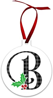 Mystic Sloth Monogram Initial Double Sided Holly Berry Ornaments (B)