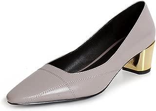 Nine Seven Women's Leather RoundToe Gold Heel Pump
