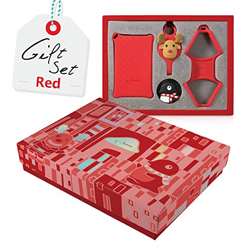 Bone Bundle Gift Kit Universal Cell Phone Lanyard with Card Holder Case, Silicone Neck Strap Necklace for Smartphone ID Name Badge Business Access Metro Card Keychain Wallet - Red