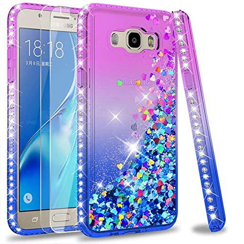 LeYi Cover Samsung Galaxy J5 2016 Glitter Custodia con Vetro Temperato [2 Pack],Brillantini Diamond Silicone Sabbie Mobili Bumper Case per Custodie Samsung Galaxy J5 2016 Donna ZX Purple Blue Gradient
