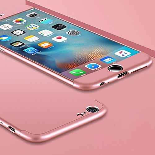 FATEGGS Accesorios para teléfono móvil para iPhone 6 Plus y 6S Plus PC tres párrafos escudo 360 grados cobertura completa caso contraportada cubierta cubierta cubierta (color: oro rosa)