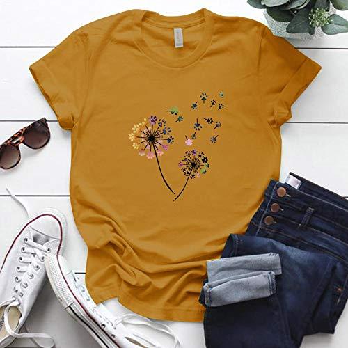 T-Shirt Femme Couleur Pissenlit Imprimé Tshirt Femmes Plus La Taille D'Été Drôle Tshirt Tee Shirt Femme À Manches Courtes Tops Femmes Vêtements S Yw