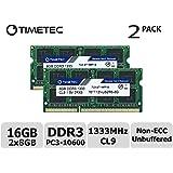 Timetec Hynix IC 16 GB Kit (2x8GB) ノートPC用メモリ DDR3 1333 MHz PC3 10600 204 Pin SODIMM Laptop upgrade 永久保証 (16 GB Kit(2x8GB))