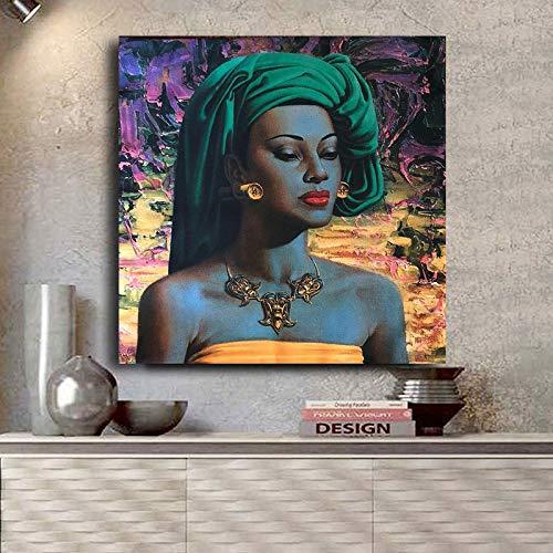 adgkitb canvas Chica balinesa Tretchikoff Reproducción Vintage Pintura al óleo sobre Lienzo Arte Carteles e Impresiones Cuadro nórdico de Pared para Sala de Estar A 60x60cm Sin Marco