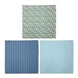 ABAKUHAUS Pack de 3 Bandanas Unisex, Cuadrados geométricos zigzag que forma abstracta moderna de los rectángulos pequeños simplista, Multicolor