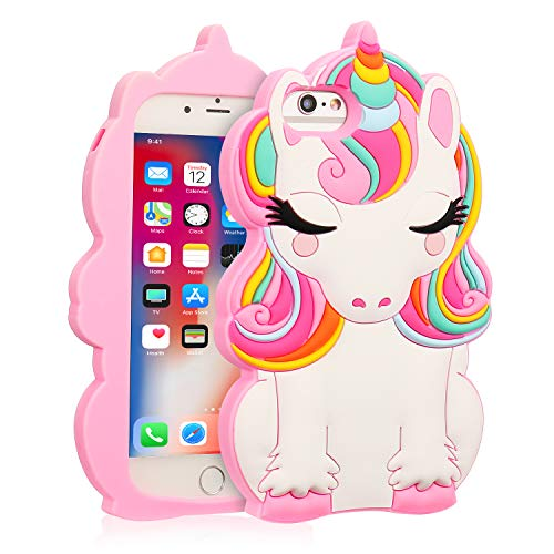 Coralogo for iPhone 6/7/8/6S/SE 2020 Case, 3D Cute Cartoon Funny Animal Silicone Character Designer Skin Kawaii Fashion Fun Cover Cases for Girls Teens Kids iPhone 6/7/8/6S/SE 4.7 (Color Unicorn)