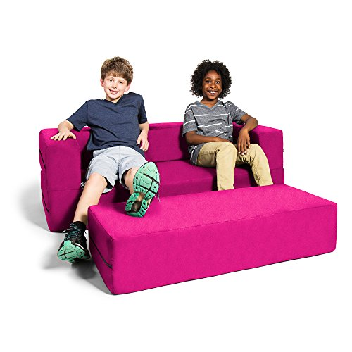 Jaxx Zipline Kids Sofa & Large Ottoman, 3 in 1 Fold Out Sofa, Big Kids Edition, Fuchsia