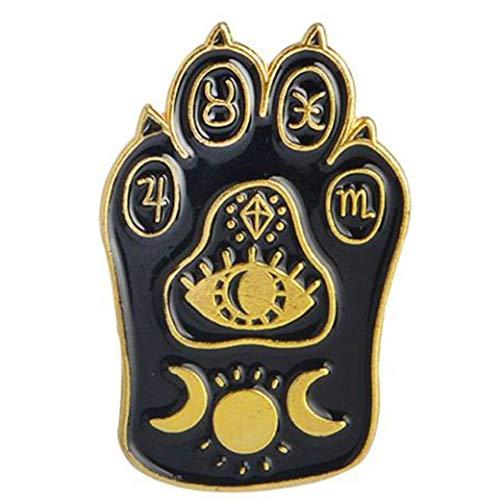 Aisoway Gothic magische Katzen-Tatzen-Brosche Emaille Pin Hexe Abdrücke Mond-Stern-Patriotismus-Revers-Stifte