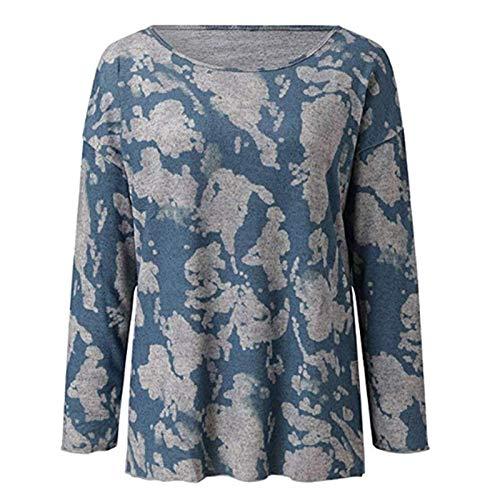 Damska bluzka z okrągłym dekoltem Modny nadruk Osobowość Trend Wygodna na wszystkie mecze Casualowa bluzka z długimi rękawamiXXL