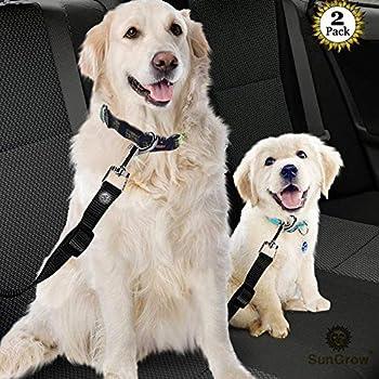 Ceinture de sécurité réglable pour chien - Ceinture de sécurité pour voiture - Harnais de voiture pour chien - Accessoires de voyage pour animal de compagnie.