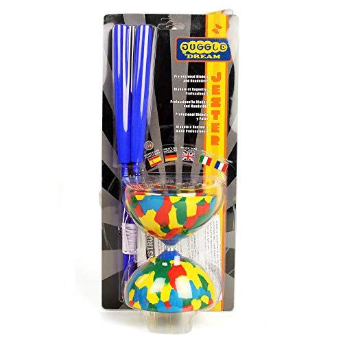 Juggle Dream Jester Diabolo Set with Superglass Hand Sticks - Gift Pack (Blue Sticks)