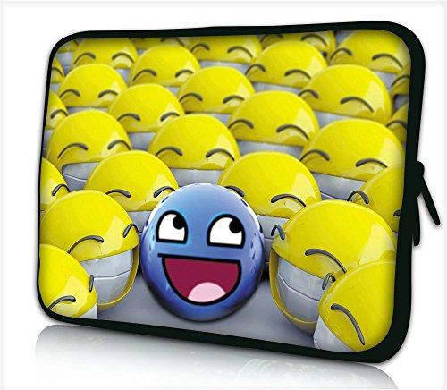 Silent Monsters Funda de Neopreno para Tablet de 10,1', diseño de emoticonos, Color Azul