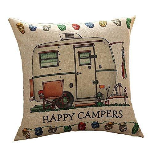 GIGIEU Estampado Cuadrado Happy Campers patrón de los Campers Regalos sofá Simple Funda de Almohada Fundas de 20 x 20 Pulgadas Regalo de cumpleaños Campers Regalos