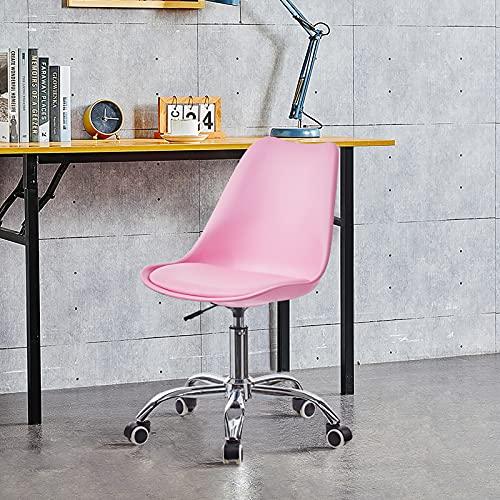 OFCASA Silla de escritorio de plástico ajustable para oficina, silla giratoria con asiento acolchado, silla ejecutiva para oficina en casa, color rosa
