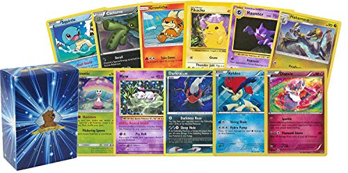 100 Assorted Pokemon Cards - 5 Rare Holographic Cards, 95 Commons/Uncommons - Authentic - Includes Golden Groundhog Deck Storage Box!