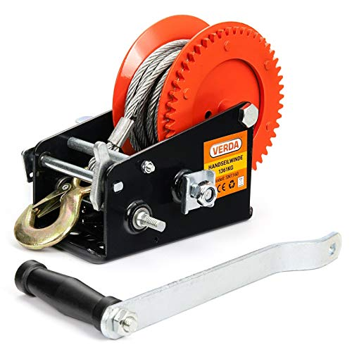 VERDA Seilwinde Handseilwinde Bootswinde Winde Stahlseil Gurtwinde Textilband (3000lbs mit Stahlseil)