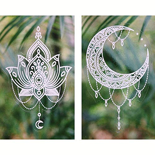 Gypsy Dreaming Beautiful Hand Designed Mandala Stickers, Twin Pack 1X White Lotus Flower and 1X White Luna - Waterproof, Suitable for Outdoors, Car Windows Made in USA