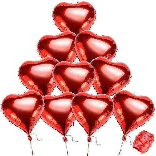 Ansior - Globos de helio con forma de corazón (10 unidades, 10 m), color rojo