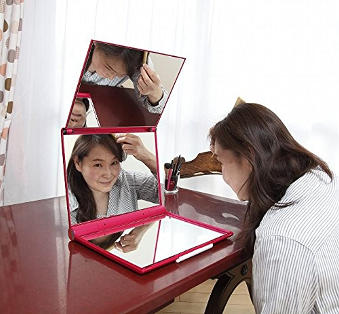 知るカートリッジ実際マリンレッド 立体三面鏡 【卓上鏡】【三面鏡 卓上】 【白髪染め 鏡】 スリーウェイミラー
