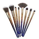 Hermosa Nueva 8 de cepillo del maquillaje herramientas de belleza mango de plástico gradiente de pincel de maquillaje prismática Para mujeres (Color : Purple)