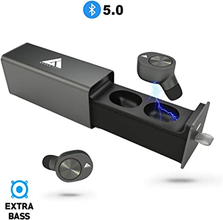 Boult Audio AirBass Twinpods True Wireless Bluetooth 5.0 Earphones with mic and Charging case Dual Connectivity Headset IPX5 Sweatproof Deep Bass Monopod Feature (Gray)