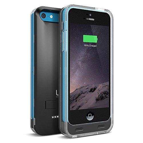 uNu Reveal Carcasa 2400mAh Recargable Funda iPhone 5C (Negro Mate/Transparente)