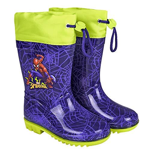 PERLETTI Marvel Spider Man Regenstiefel für Kinder - Spiderman wasserdichte Stiefel mit rutschfeste Sohle und Kordelzug - Regen Stiefeletten für Jungen - Apfelgrün Lindgrün Blitze (24/25 EU, Blau)