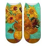 LWHRKSJC Calcetines cortos 3D Calcetines de Van Gogh con pintura al óleo con estampado 3D, calcetines de algodón con girasoles de noche estrellada para mujer, calcetines de pintura de fama mundial ar