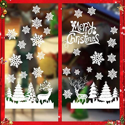 Sunshine smile Weihnachts-Fenster Dekoration,Fensterbilder Weihnachten,Schneeflocken Weihnachtsdeko,Weihnachtsdeko,Winter Dekoration, Fensterdeko Schneeflocken,Weihnachten Fensterdeko