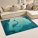SunsetTrip - Alfombra para sala de estar, dormitorio, diseño de ballena de mar, diseño de sirena y ballena náutica, antideslizante, moderna, suave, lavable, 152,4 x 99,1 cm