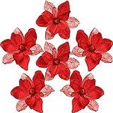 Sea Team 6er-Pack Künstlicher Glitzer Weihnachtsstern, Magnolienblütenstäbchen, Weihnachtsblumenschmuck, Blumenstiele, Picks, Zweige, Weihnachtsbaumschmuck für Urlaub, Party, Hochzeit, 10 Zoll