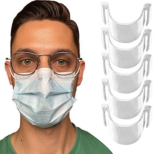 5 pinzas nasales antivaho transparentes para mascarilla - Evita el empañamiento y el vapor - Resistente, inodoro, atóxico y 100% reciclable - Puente nasal