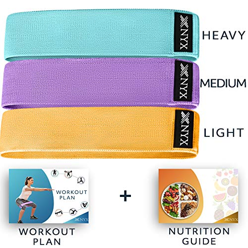 NYX Fitness Booty Bands for Women | Fabric Resistance Bands for Legs and Butt Exercise | Set of 3 Non Slip Hip Band | Workout Bands Resistance Legs and Butt | Elastic Bands for Working Out