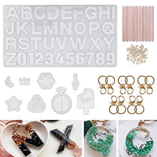 Kinbelle レジン型 ソフトモールド アルファベット 数字 金具 パーツ DIY イヤリング キーホルダー キーピン