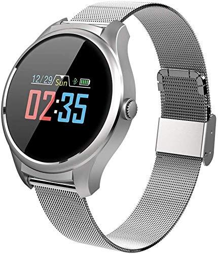 WJFQ Sportuhr Fitness Armbanduhr Sport Smart-Uhr for Frauen Smart-Armband Wasserdicht Fitness Armband Tracker for iOS Android for Kinder Männer Frauen (Color : Silver Steel Band)