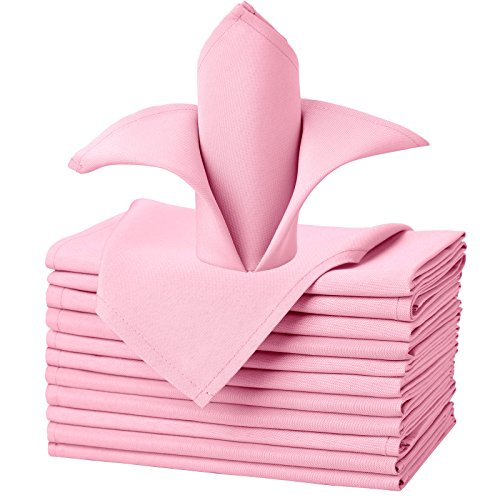 VEEYOO Oversized 20x20 Solid Polyester Cloth Napkins for Wedding Party Restaurant Dinner Indoor/Outdoor Use Washable Set of 12, Pink