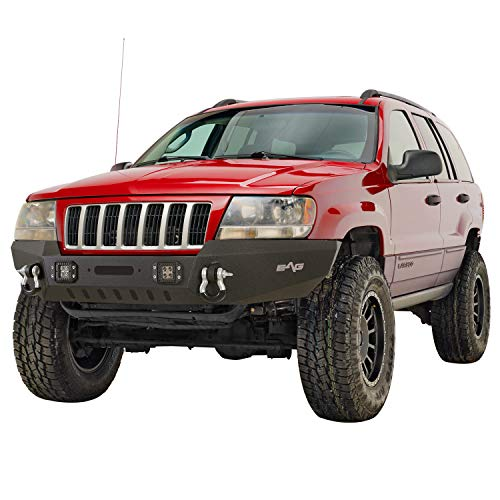 KML Assembled Front Bumper with LED lights Compatible with 1999-2004 Grand Cherokee WJ