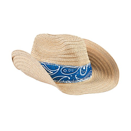 Western Cowboy Hat with Blue Bandana (set of 12) Party Accessories