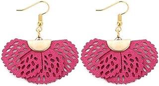 Flower Leather Dangle Drop Women's Vintage Stud Earrings Boho Water Ethnic Eardrop Charming pink KLFP00013