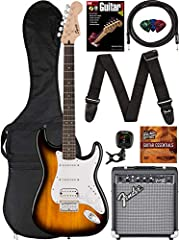 The Stratocaster is ideal for beginning players and provides a comfortable playing feel Vintage-style tremolo bridge for classic pitch effects Three single-coil pickups for classic Strat tone Squier Frontman 10G amplifier included Free 3-month subscr...