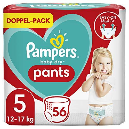 Pampers Baby-Dry Pants 5, 56Höschenwindeln, Einfaches An- und Ausziehen, Zuverlässige Pampers Trockenheit, 12kg - 17kg