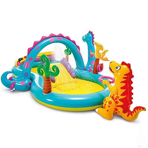 Gran Centro De Juegos Inflable, Piscina Infantil De Dinosaurios con Aspersor De Tobogán, Piscina De Bolas Oceánicas, Juguetes Acuáticos De Verano para El Patio Trasero Al Aire Libre