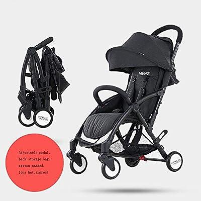 Baby Cart Cochecito de bebé portátil, Puede Sentarse, Paraguas pequeño Ultraligero Plegable, Carrito de Cuatro Ruedas Transpirable almacén 3D Transpirable, cálido en Invierno y Fresco en Verano